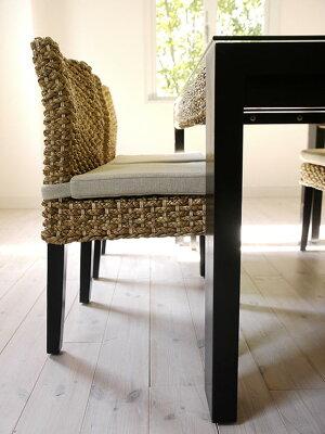 アジアンリゾートのウォーターヒヤシンス製癒しのダイニング5点セット150cm幅4人用南国バリ島リゾートのカフェやレストランでゆったりくつろぐ様なナチュラルダイニングガラス天板木製