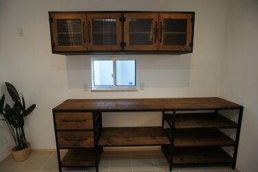 アイアン&ウッド キッチンキャビネット 《食器棚 吊り戸棚》