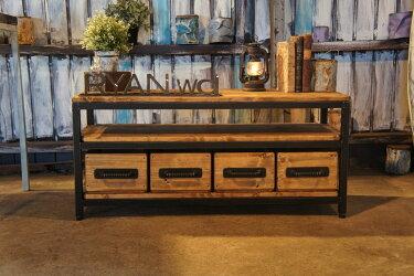 アイアン&ウッド木箱付きローボード   W1200  B=ナチュラルダークブラウン