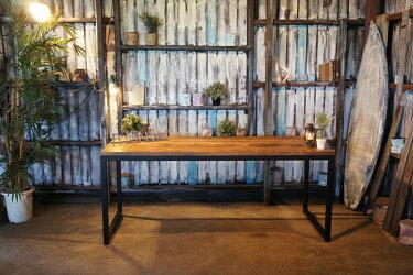 アイアン&ウッド ホワイトビーチ材 ダイニングテーブル  B=ナチュラルダークブラウン ロの字脚 組立式