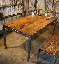 アイアン&ウッド ホワイトビーチ材 ダイニングテーブル B=ナチュラルダークブラウン 組立式