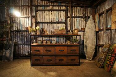 アイアン&ウッド木箱付きシェルフ    W1500  C=チョコブラウン