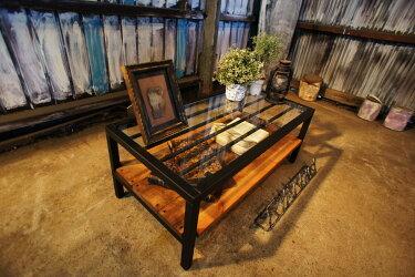 アイアン&ウッド ガラステーブル    W1000  B=ナチュラルダークブラウン