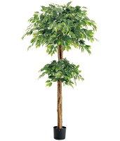 造花180cmダブルフィカスツリー(ナチュラルトランク)