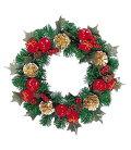 クリスマスリース・造花・装飾30cmクリスマスボックスリース
