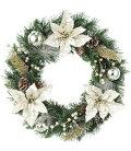 クリスマスリース・造花・装飾45cmシャンペーンゴールドポインセチアリース
