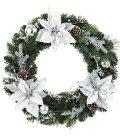 クリスマスリース・造花・装飾45cmオーロラシルバーポインセチアリース