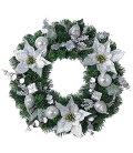 クリスマスリース・造花・装飾45cmシルバーポインセチアリース