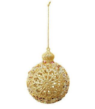 ★クリスマスツリー飾り オーナメント 10cm ゴールドアイボリーデコラボール [TOBA6167]