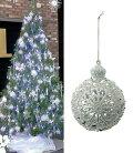 クリスマスツリー飾り・オーナメント10cmシルバーホワイトデコラボール