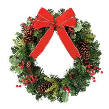 ★クリスマスツリー 造花 フラワー 観葉植物 防炎50cmレッドリボンベリーパインリース [DIWR61016]