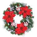 クリスマスツリー造花フラワー観葉植物防炎50cmレッドポインドリーミーボールリース[DIWR61018]