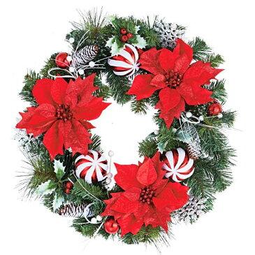 ★クリスマスツリー 造花 フラワー 観葉植物 防炎50cmレッドポインドリーミーボールリース [DIWR61018]