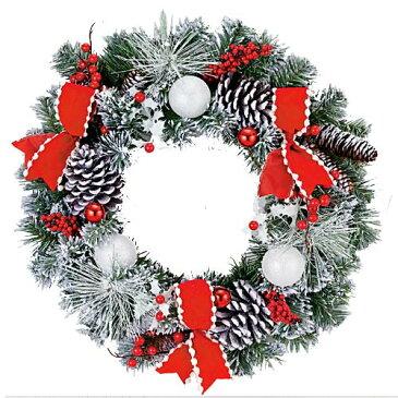 ★クリスマスツリー 造花 フラワー 観葉植物 防炎50cmレッドリボンスノーパインリース [DIWR61019]