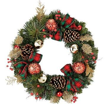 ★クリスマスツリー 造花 フラワー 観葉植物 防炎50cmタータンリボンリーフボールリース [DIWR61020]