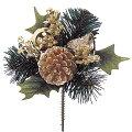 クリスマス装飾造花フラワーゴールドベルボールピック[PAPC6663]
