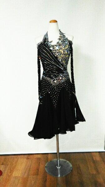 <レンタル>衣装 社交ダンス ドレス MサイズV0405黒