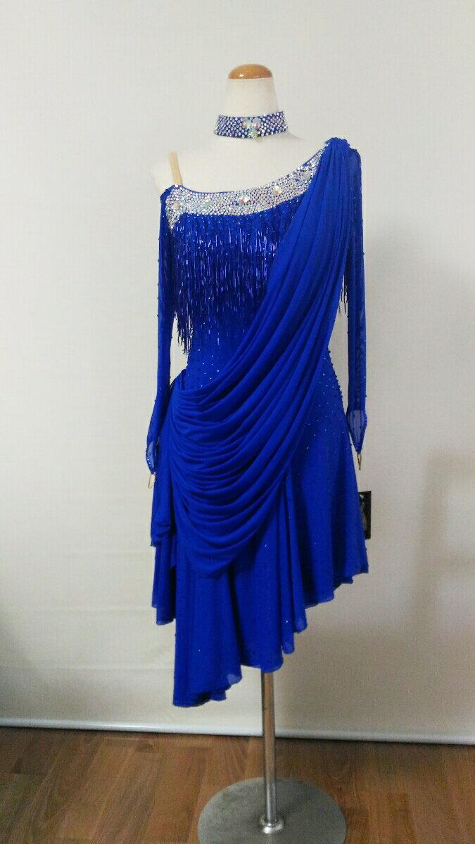 <レンタル>衣装 社交ダンス ドレス青 Mサイズv0210BO