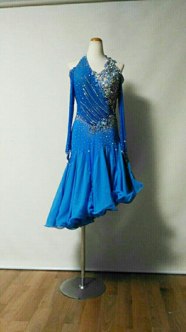<レンタル>衣装 社交ダンス ドレス Mサイズv0405水色