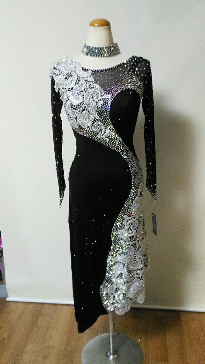 <レンタル>衣装・社交ダンスドレス黒 3Lサイズv0285