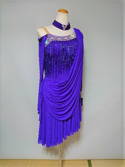 <レンタル>衣装 社交ダンス ドレス紫 Mサイズv0210m