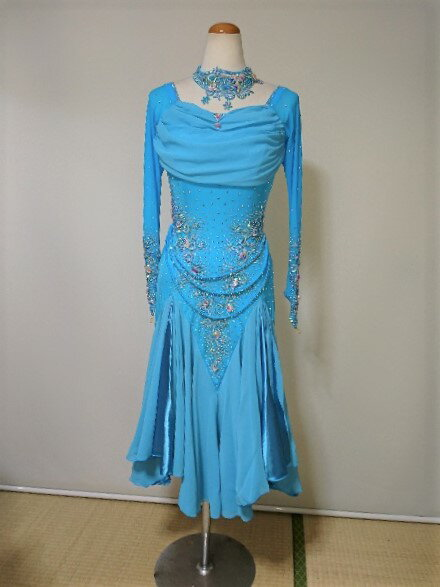 <レンタル>衣装 社交ダンス ドレス Lサイズv0378-1