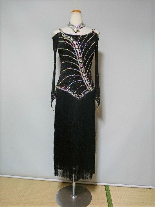 <レンタル>衣装 社交ダンス ドレス黒 Mサイズv2191