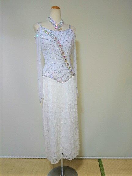 <レンタル>衣装 社交ダンス ドレス純白 Lサイズv2191H