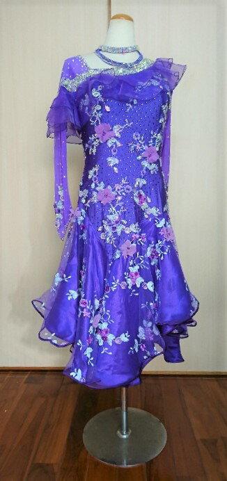 <レンタル>衣装・社交ダンスドレス 紫色2Lサイズk0250