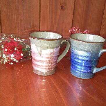 母の日 ギフト カーネーション と 九谷焼 ペアマグカップ「銀彩(青・紫)」