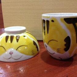 アニマルマグカップ&ご飯茶碗セット*ねこ(黄)