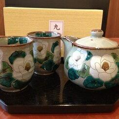 九谷焼 茶の間揃えポットペア湯呑み 銀山茶花