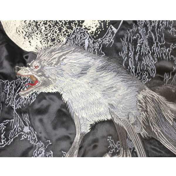 さとり satori 月に狼柄刺繍リバーシブルスカジャン