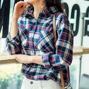 ネルチェックダーリンシャツ リュリュ ファッション レディース アウトレット