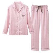 インナー レディース ストライプ オシャレ シャツパジャマセットサテンシャツパジャマ リュリュ ファッション
