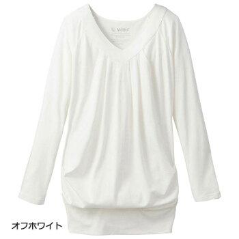 カットソーレディース秋SMLLL1サイズ綿・モダールTM繊維混Vネックドレープカットソー(S〜)ryuryuリュリュ20代30代ファッションレディース