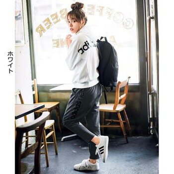 パーカーレディース秋SMLLLサイズ<adidasneo>ロゴスウェットジップパーカーryuryuリュリュ30代ファッションレディース