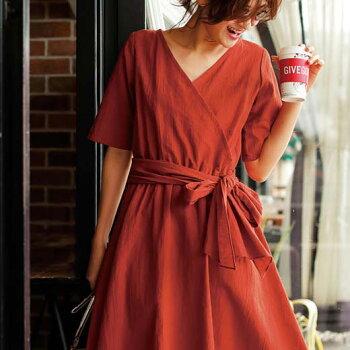 ワンピースMLLL3L綿麻カシュクールワンピースryuryu/リュリュ30代40代ファッションレディースワンピースレディース