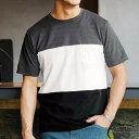 Tシャツ M LL Lカノコ3段切替デザインTシャツ(M〜LL) リュリュ ryuryu 40代 50代 60代 紳士 ファッション Tシャツ メンズ 男性