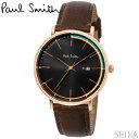 ポールスミス 腕時計 時計 PAUL SMITH TRACKPS0070008 ブラック ピンクゴールド ブラウンレザー 42mm