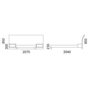 アルトゥーナベッドフレーム+ナイトテーブル2(セミダブル)床板:檜(ひのき)すのこ