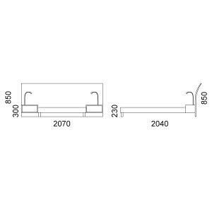 アルトゥーナベッドフレーム+ナイトテーブル2+照明2(セミダブル)床板:檜(ひのき)すのこ