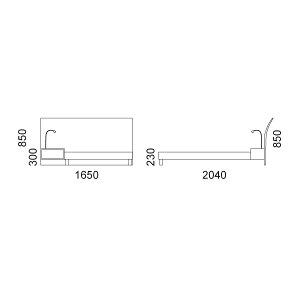 アルトゥーナベッドフレーム+ナイトテーブル1+照明1(セミダブル)床板:檜(ひのき)すのこ
