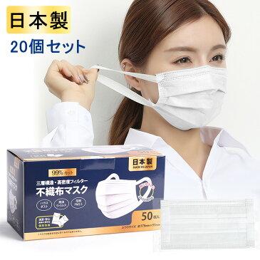 日本製 マスク 1000枚入(50枚×20箱) 個包装 耳痛くない使い捨てマスク プリーツ加工 不織布マスク 三層構\造不織布マスク 箱 普通サイズ ますく 国産 男女兼用 レギュラー フリーサイズ フィルター内蔵 ウイルス飛沫 PM2.5 99%カット 風邪対策 花粉症対策