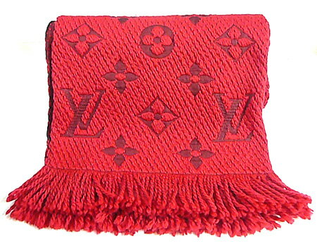 ルイヴィトンモノグラムマフラーエシャルプ・ロゴマニアルビ(赤)M72431