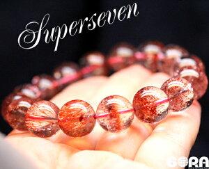 【限定1点モノ】SSSAレッドスーパーセブン約13mm一連ブレスパワーストーン天然石◆