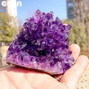 【限定1点モノ】高品質!鮮やかな紫高品質アメジストウルグアイ産原石クラスター約330gパワーストーン天然石置物