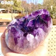 【限定1点モノ】母岩からあふれ出すような濃厚な紫高品質アメジストウルグアイ産原石クラスター約1400gパワーストーン天然石置物