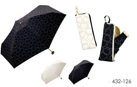 折りたたみ傘傘wpcw.p.cハナプリントレインハート刺繍ジャギーハートハート刺繍ゴールドハート晴雨兼用uvカット折りたたみ傘雨傘レディースかわいい