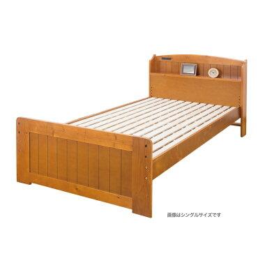 ファミリー・ライフ天然木棚付すのこベッド(高さ調節付)シングル(03282)/セミダブル(03283)/ダブル(03284)